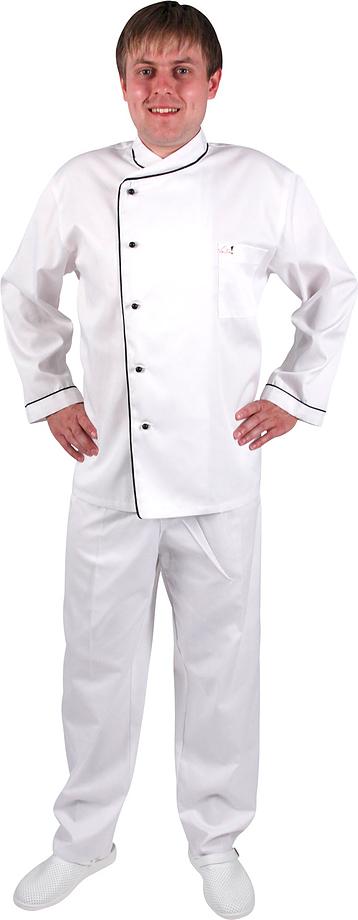 Куртка шеф-повара бело-чёрная 0301, набор из 5 штук